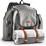 VonShef 4 Person Premium Outdoor Picnic Backpack Bag with Blanket – Woven Grey Waterproof Finish, Includes 29 Piece Dining Cutlery Set & Insulated Cooler Bag Compartment to Keep Food Chilled