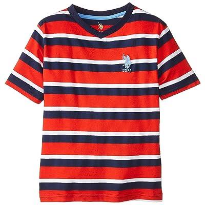 U.S. Polo Assn. Big Boys' Striped V-Neck T-Shirt