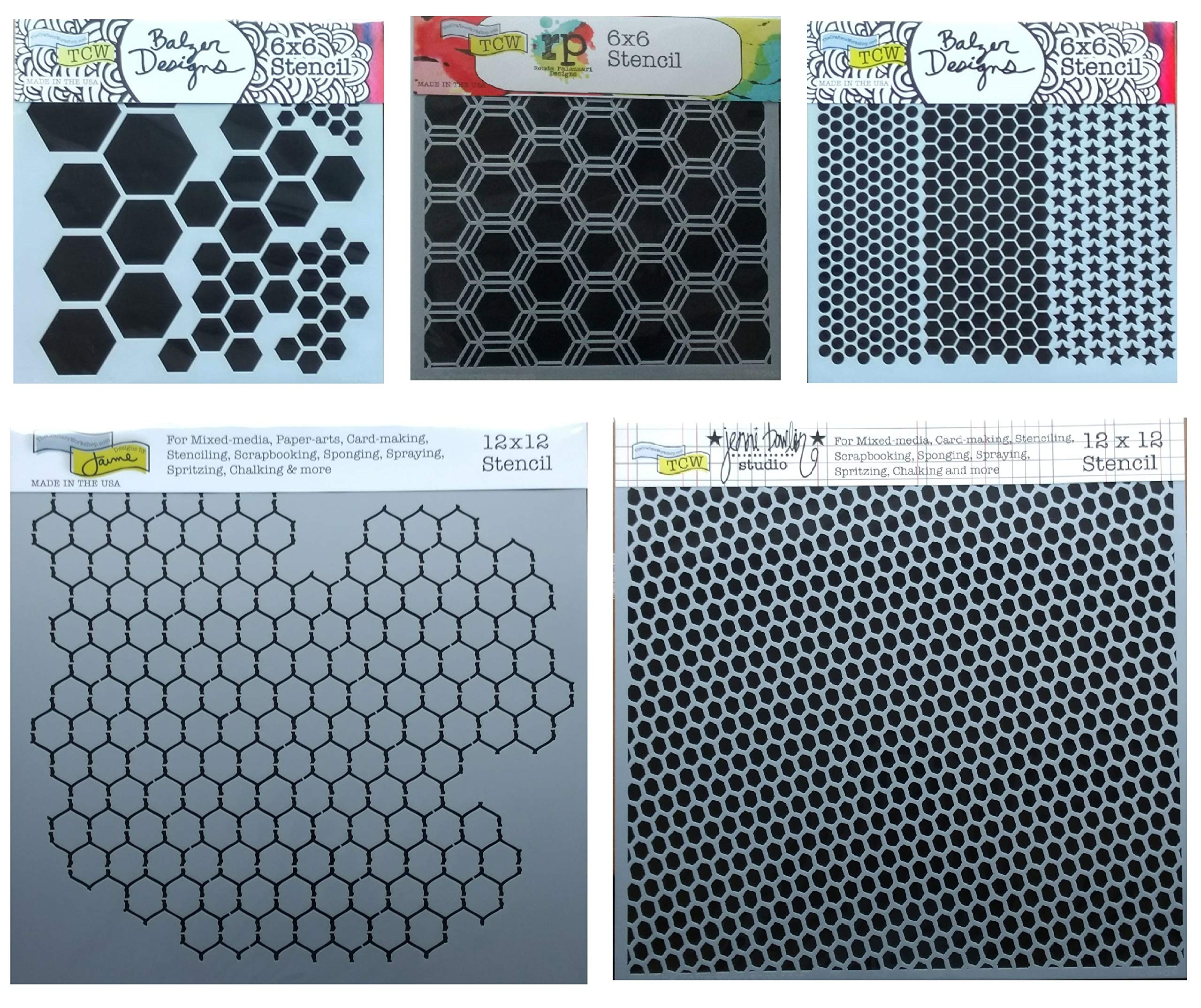 5 Mixed Media Stencils | Hexagon, Honeycomb, Chicken Wire, Fish Net, Punchinella Stencil Set | Templates for Arts, Card Making, Journaling, Scrapbooking | by Crafters Workshop by Generic