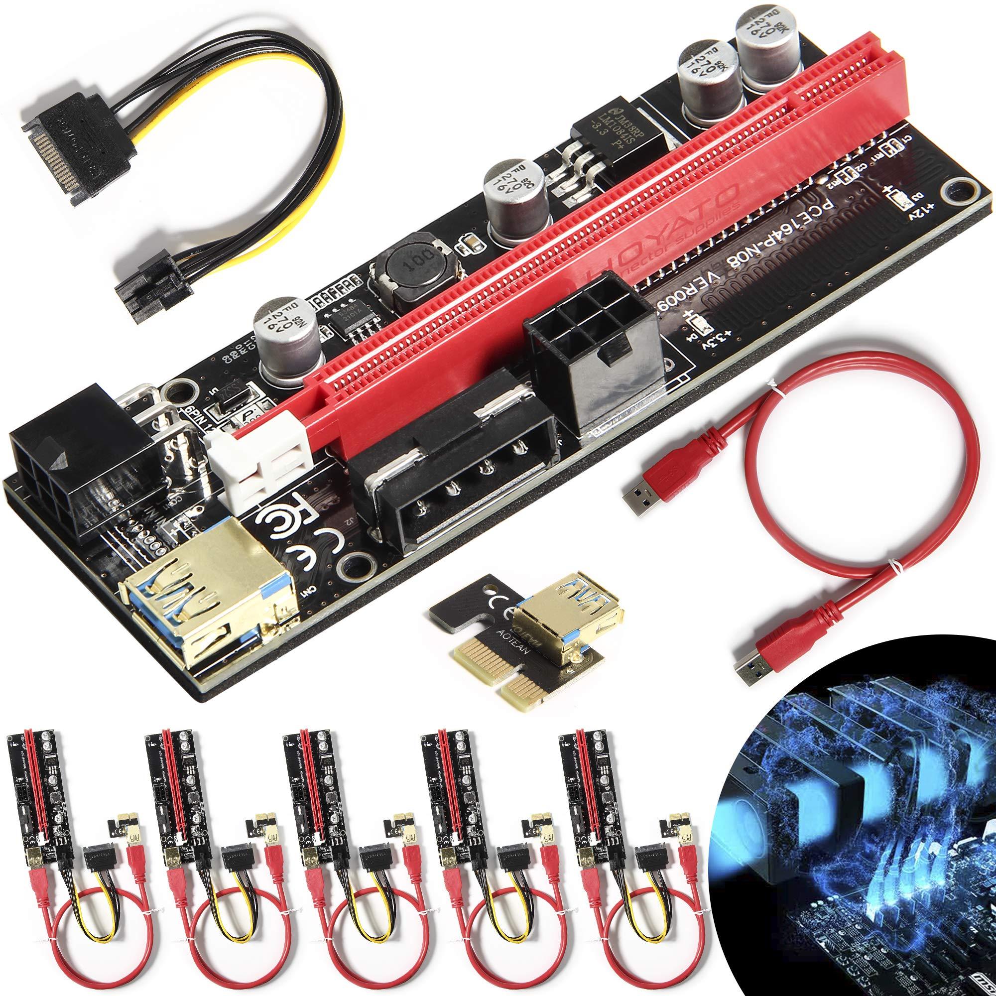 6 Pci-e Riser VER 009S Cripto mineria Con Cable Molex CoreRe
