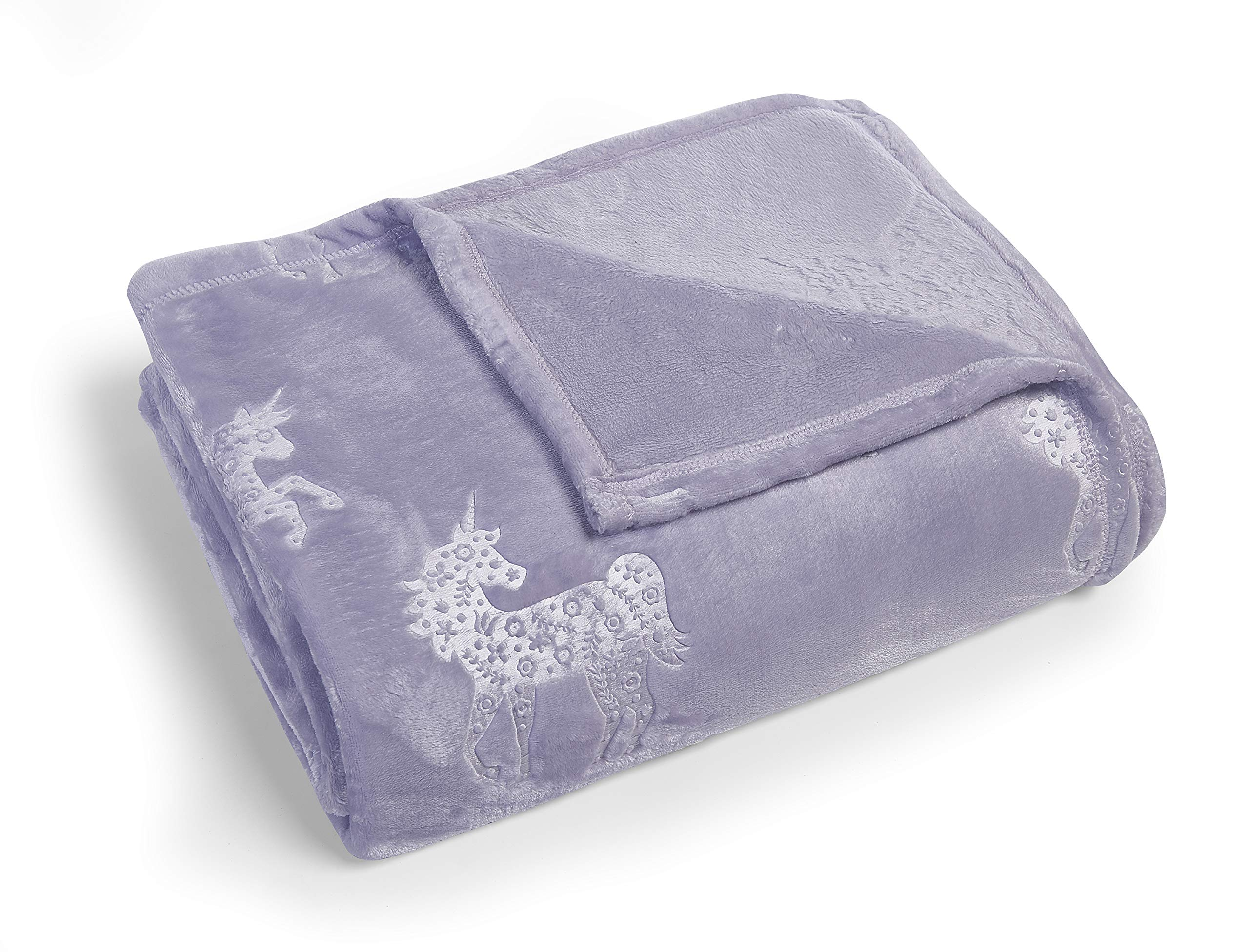 Kute Kids Embossed Velvet Plush Girls Twin Blanket - Available in Mermaid Cats and Unicorn Designs, Colors Include Pink, Aqua, Purple and Grey - Super Soft and Ultra Cozy (Purple Unicorn)