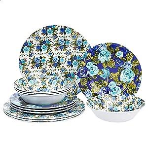 Amazon Basics 12-Piece Melamine Dinnerware Set - Service for 4, Blue Rose Garden
