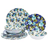 Amazon Basics 12-Piece Melamine Dinnerware Set - Service for 4, Blue Rose Garden
