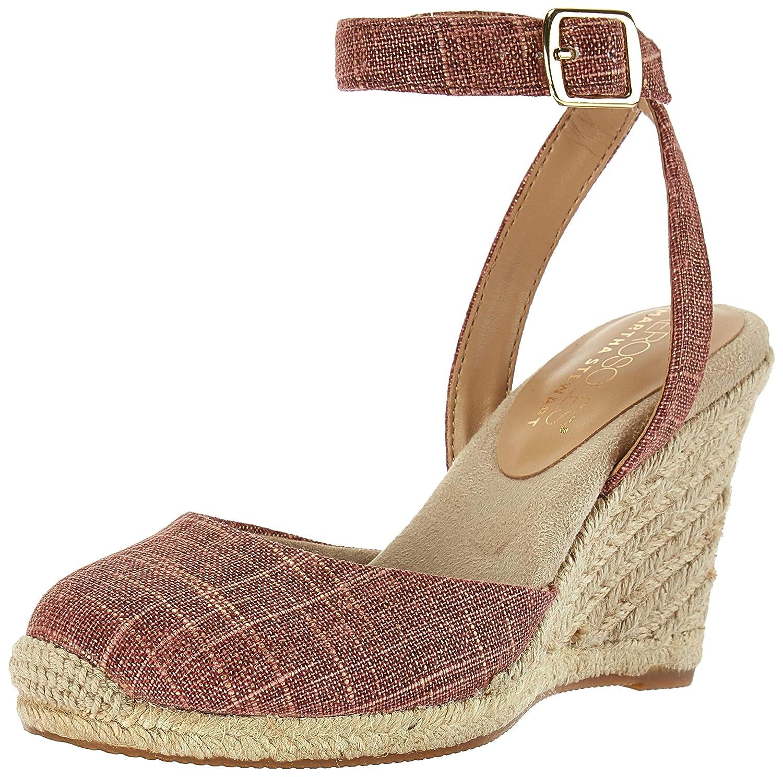 Red Fabric Aerosoles Womens Martha Stewart Meadow Wedge Sandal