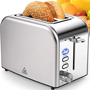 Toasters 2 slice Best Rated Prime Stainless Steel Toaster Wide Slot with 6 Bread Shade Settings Removable Crumb Tray Bagel/ Reheat/ Cancel Function