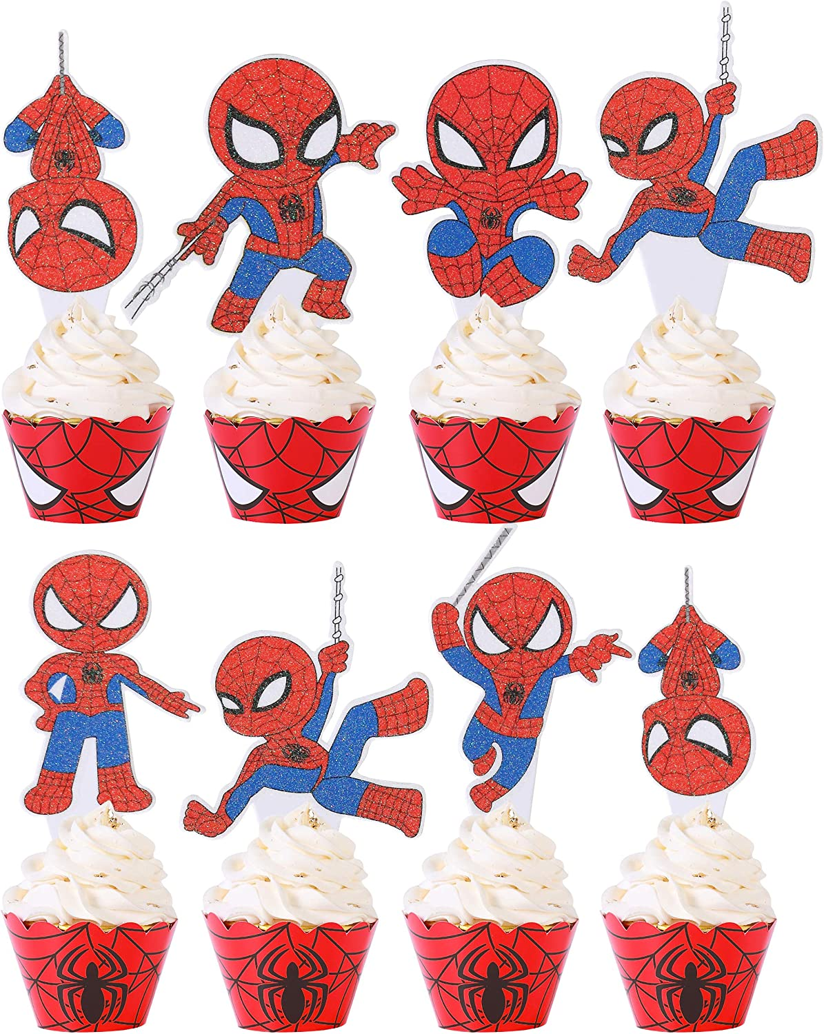 Spider Superhero Cupcake Cake Toppers(30pcs) and Wrappers(30pcs)Baby Shower Kids Birthday Party Supplies Decorations Glitter Cupcake Topper Food Picks for Super Hero Superman Theme Party