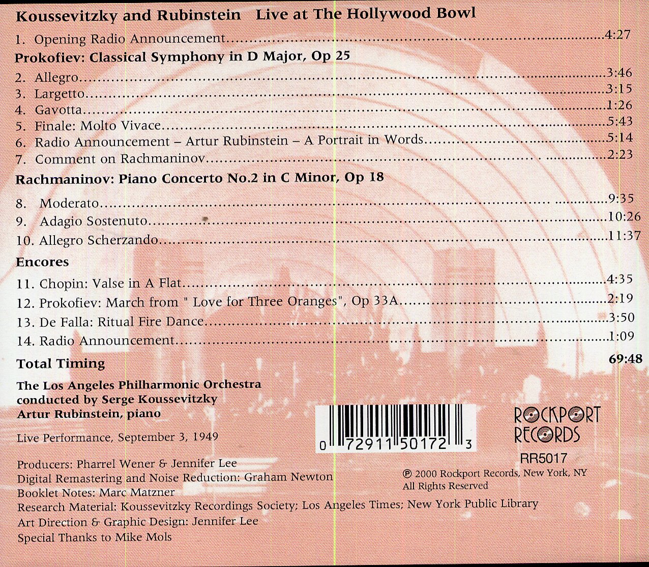 Koussevitzky and Rubinstein Live at the Hollywood Bowl (September 3, 1949) - Prokofiev Classical Symphony in D Major Op 25 / Rachmaninov: Piano Concerto No. 2 in C minor Op. 18 plus encores by Rockport