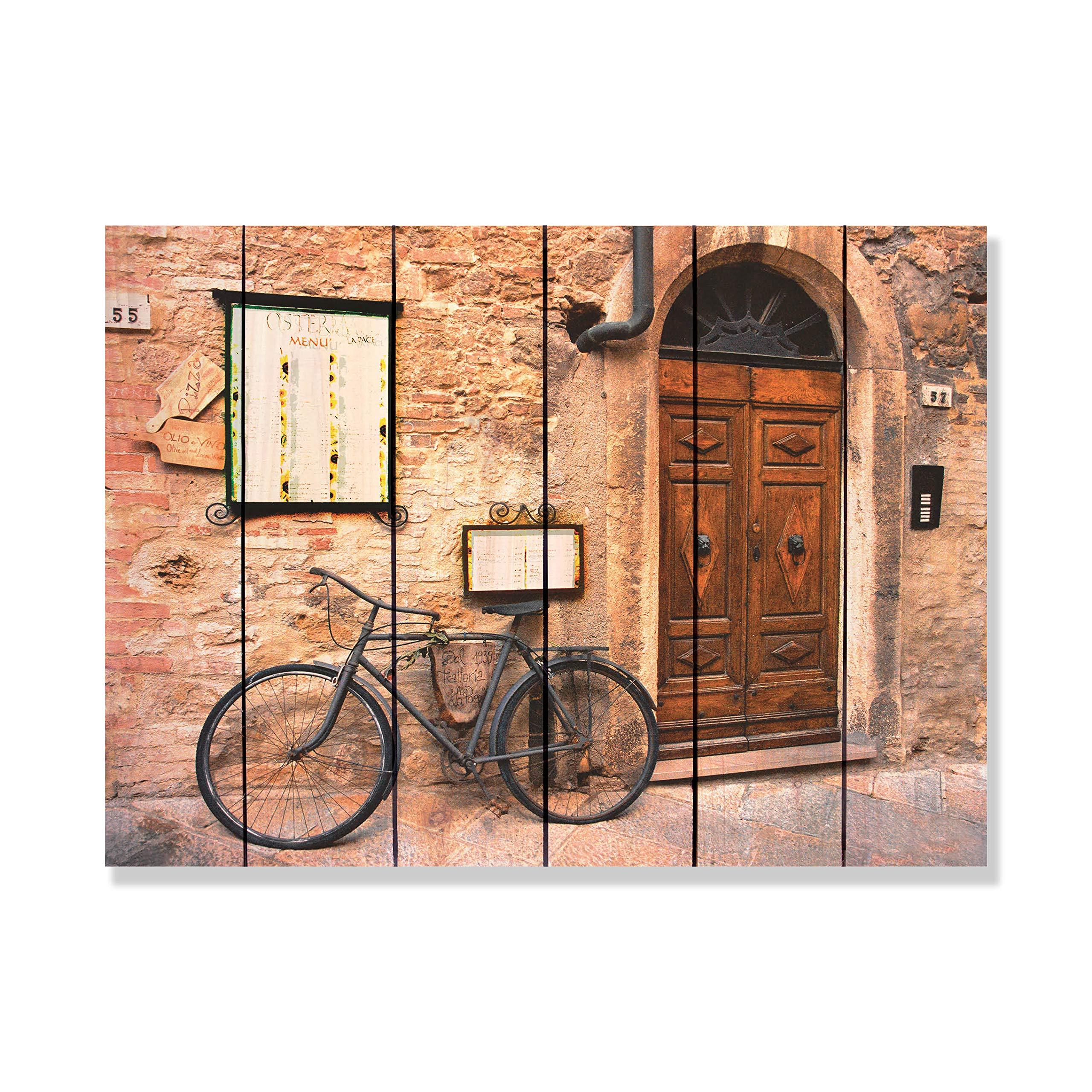 Gizaun Art Italiano Osteria 33-Inch by 24-Inch Inside/Outside Wall Art, Full Color on Cedar
