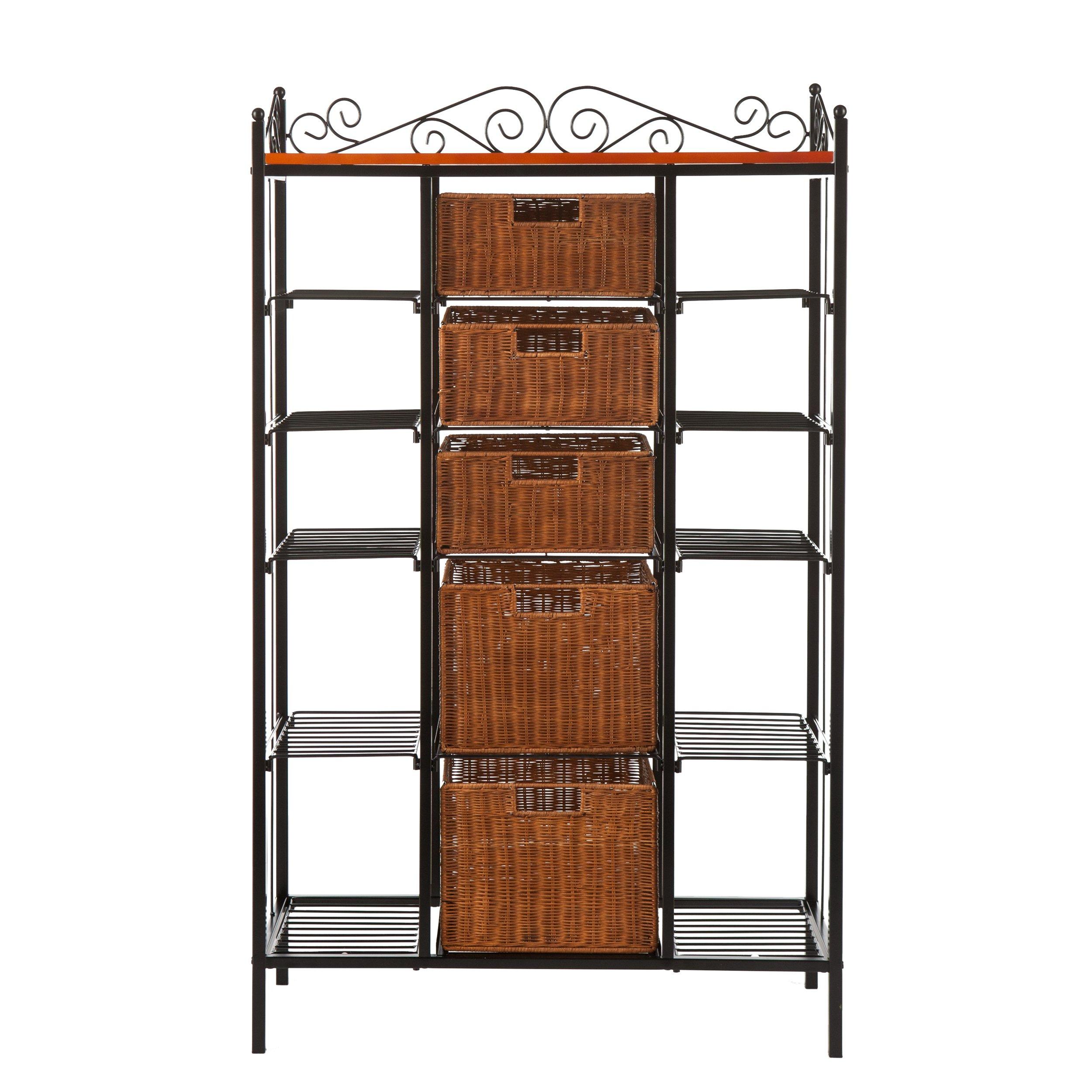 Harper Blvd Storage Shelves with Rattan Baskets by Harper Blvd