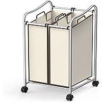 Simple Houseware 2-Bag Heavy Duty Rolling Laundry Sorter Cart, Chrome