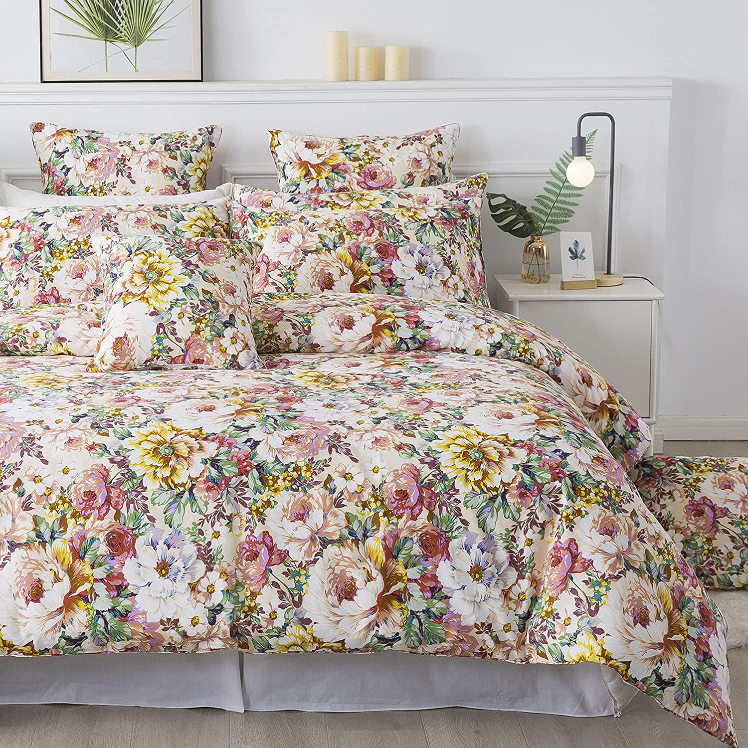 FADFAY Floral Bedding Set Twin Duvet Cover 100% Cotton Bedding 600 TC Colorful Salmon Pink Garden Flower Bed Cover Girls Romantic Peony Printed Shabby Vintage Zipper Corner Ties 3 Piece- No Filling