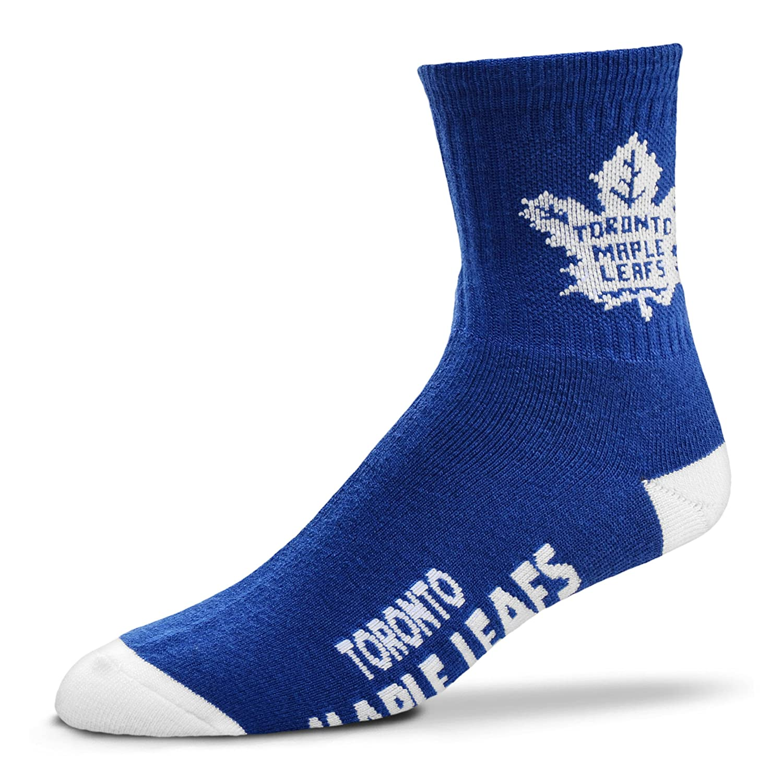 For Bare Feet Mens NHL Quarter Socks-Toronto Maple Leafs-Large 10-13