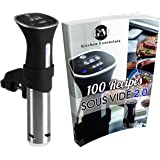 Sous Vide Thermal Immersion Circulator: Cooker and Temperature Controller for Easy, Healthy & Even Cooking - BONUS 100 Recipe E-Cookbook - Black and Stainless, 120 Volts