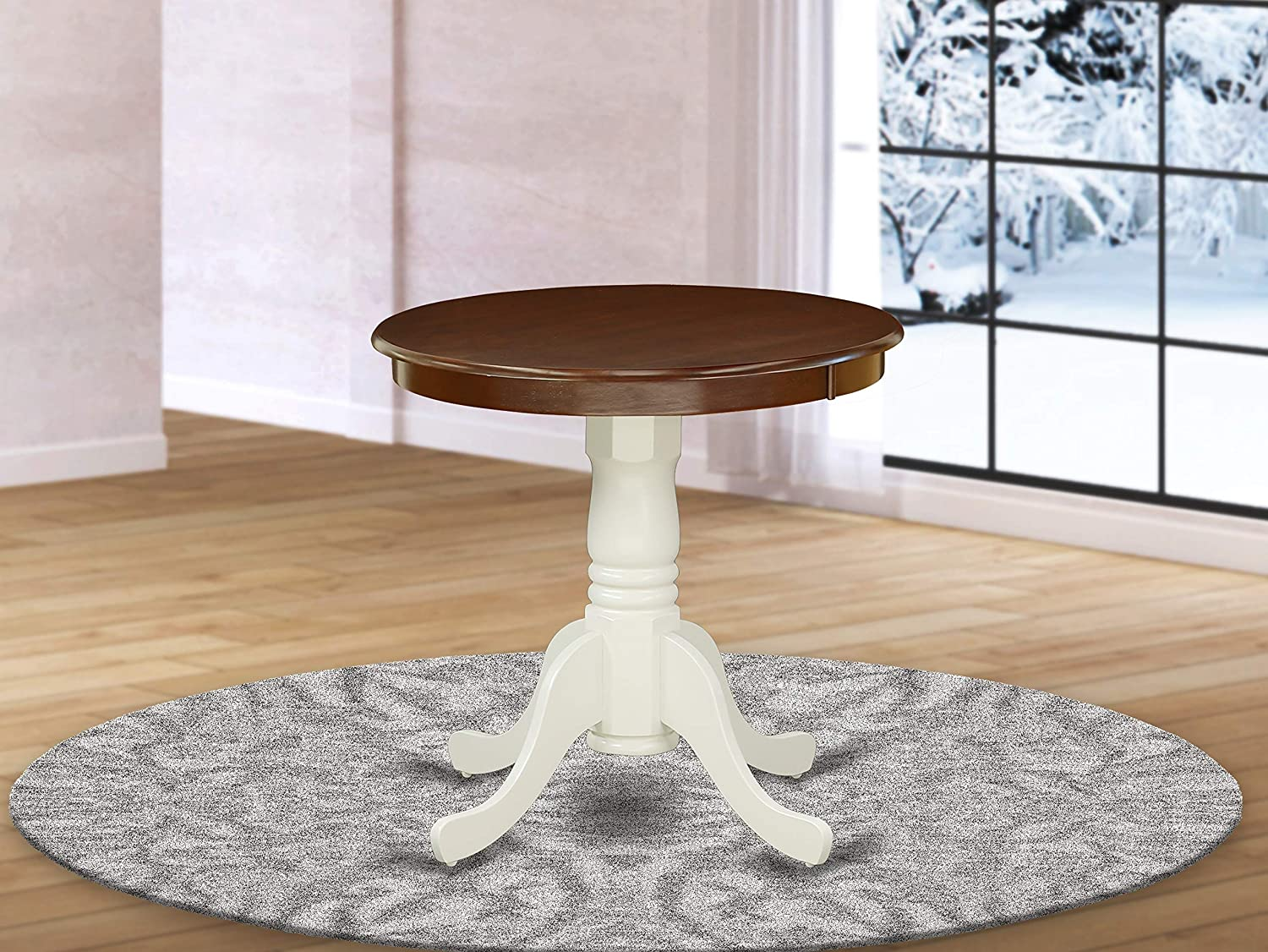 East West Furniture Edan Wood Kitchen Table - Walnut Table Top Surface and Linen White Finish legs Solid Wood Frame Kitchen Table
