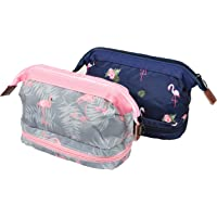 BAGOOE Handy Travel Cosmetic Flamingo Makeup Bag Case Pouch Nylon Zipper Carry On Bag for Women