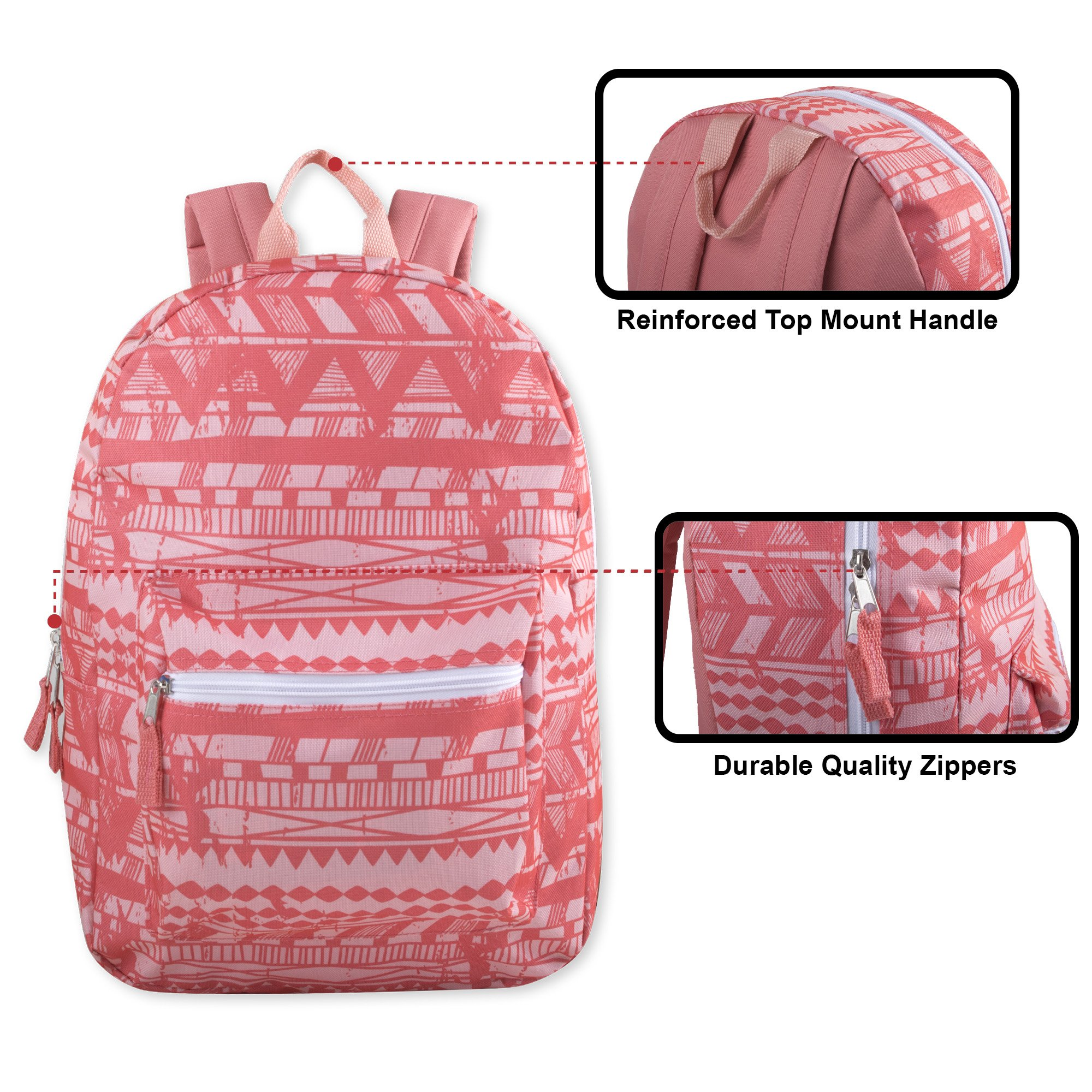 Trailmaker Girls' All Over Printed Backpack 17 Inch With Padded Straps (Peach Tribal) by Trail maker (Image #2)
