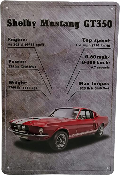 Ford Mustang Shelby Gt350 Retro Blechschild Auto Werkstatt Oldtimer Werbung Reklame Marke Schild Magnet Metallschild Werbeschild Wandschild Küche Haushalt