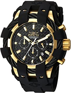 Invicta Mens Bolt Stainless Steel Quartz Watch with Silicone Strap, Black, 26 (Model