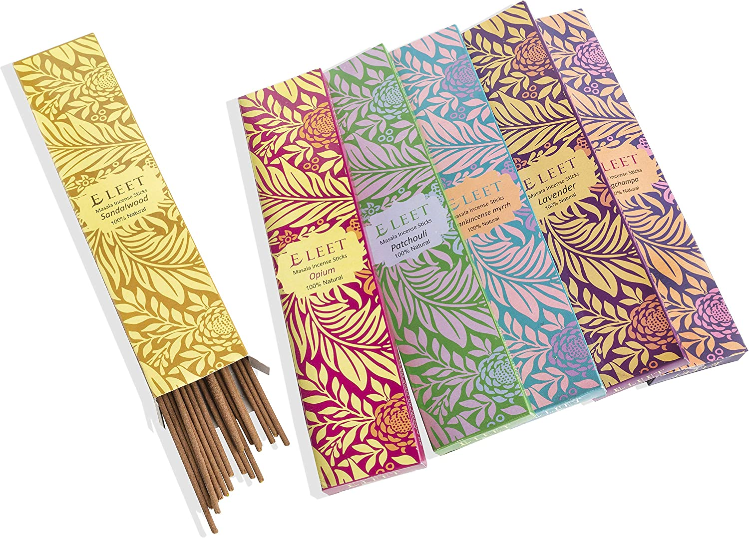 Eleet Hand Rolled Masala Incense Sticks - 20x6 Variety Pack Contains Patchouli Lavender Nag Champa Sandalwood Opium Frankincense-Myrrh 100% Natural Made in India (Six Beautiful Aromas)