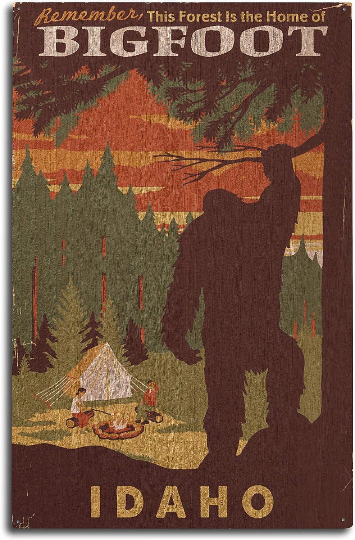 Lantern Press Idaho - Home of Bigfoot 99289 (10x15 Wood Wall Sign, Wall Decor Ready to Hang)