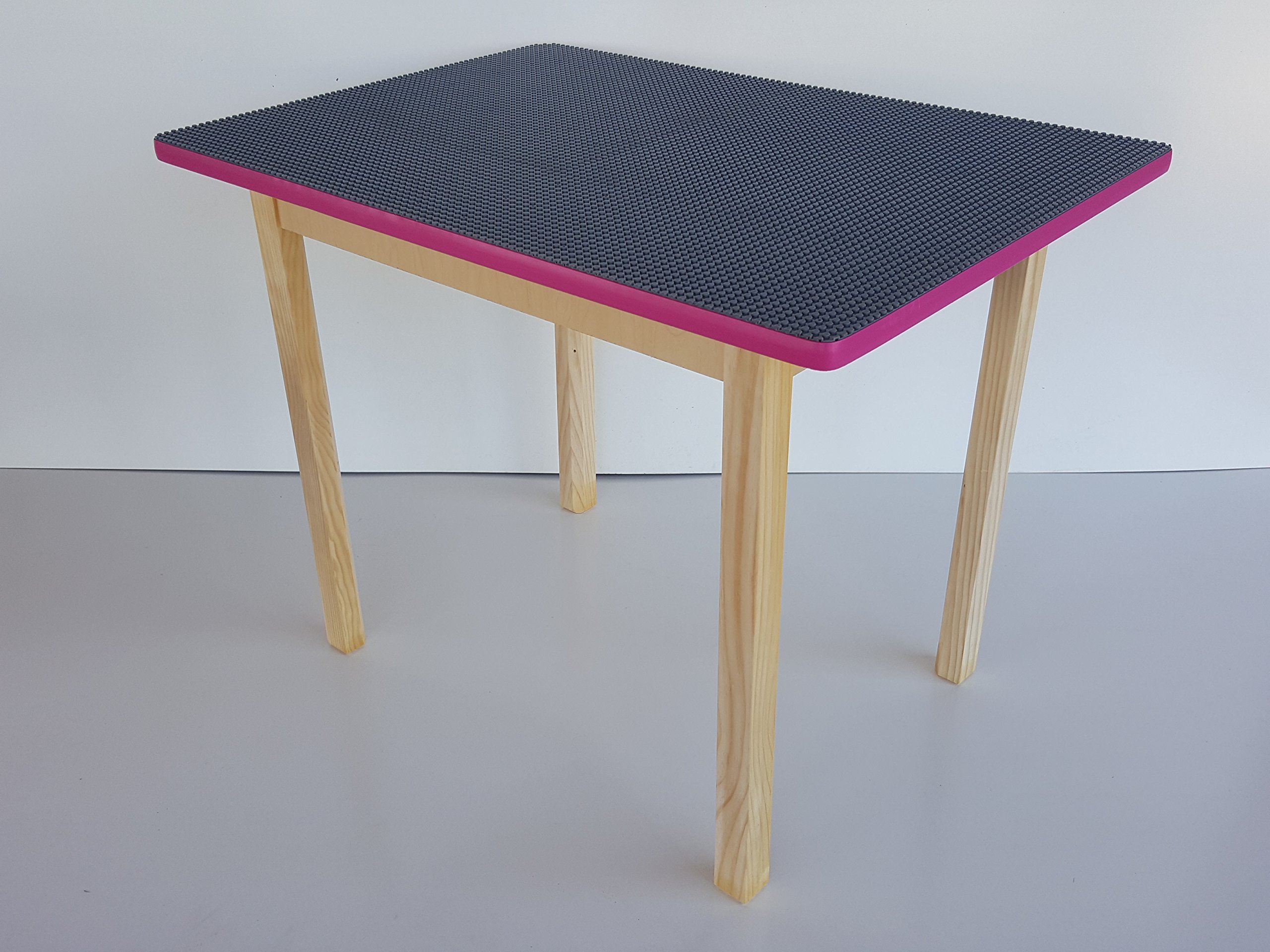 Deluxe large girls LEGO table - LEGO-Compatible table with pink trim - Made in USA