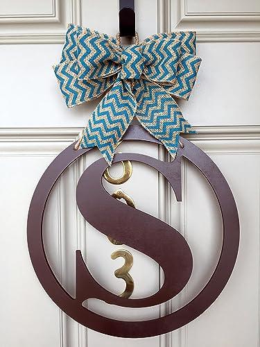 Attirant Round Monogram Door Hanger, Monogram Door Hanger, Initial Door Hanger,  Alphabet Letter Door