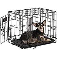 Dog Crate | Midwest iCrate XXS Double Door Folding Metal Dog Crate w/Divider Panel, Floor Protecting Feet & Leak-Proof Dog Tray | 18L x 12W x 14H Inches, Toy Dog Breed, Black
