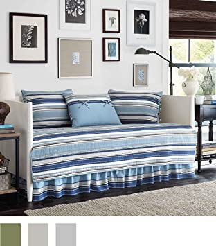 Amazon.com: Stone Cottage Fresno 5-Piece Daybed Quilt Set, Blue ... : day bed quilt sets - Adamdwight.com