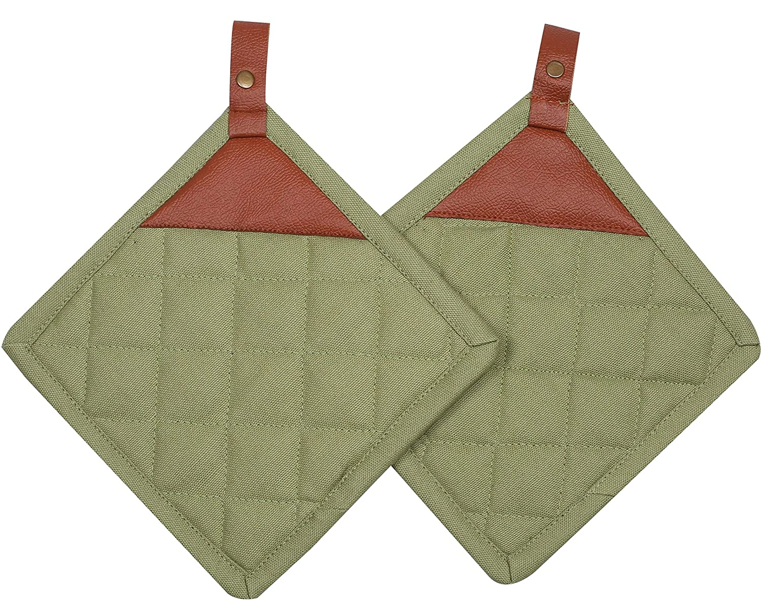 Cote De Amor Set of 2 Pot Holders Bulk Heat Resistant and Machine Washable, 100% Cotton Kitchen Hot Pads Pot Holders with Heavy Duty Leather Hanger - Green
