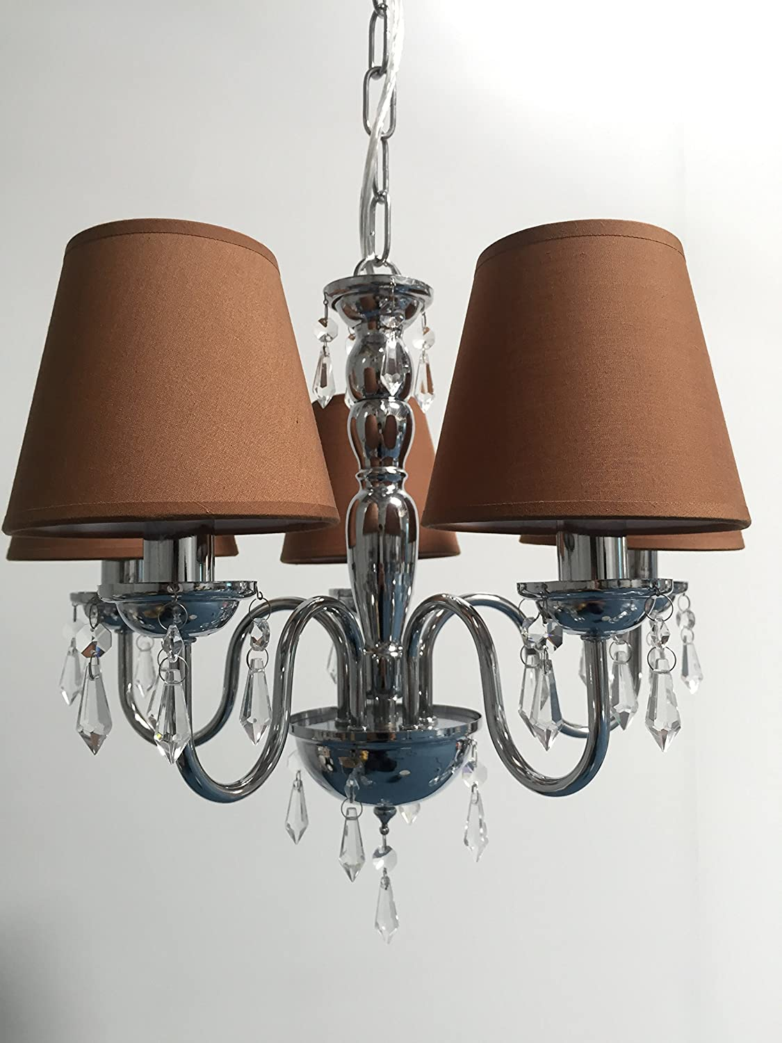 Doooitlight Set of 6 Clip LampShades for Candle Crystal Chandelier(Cigar Brown)