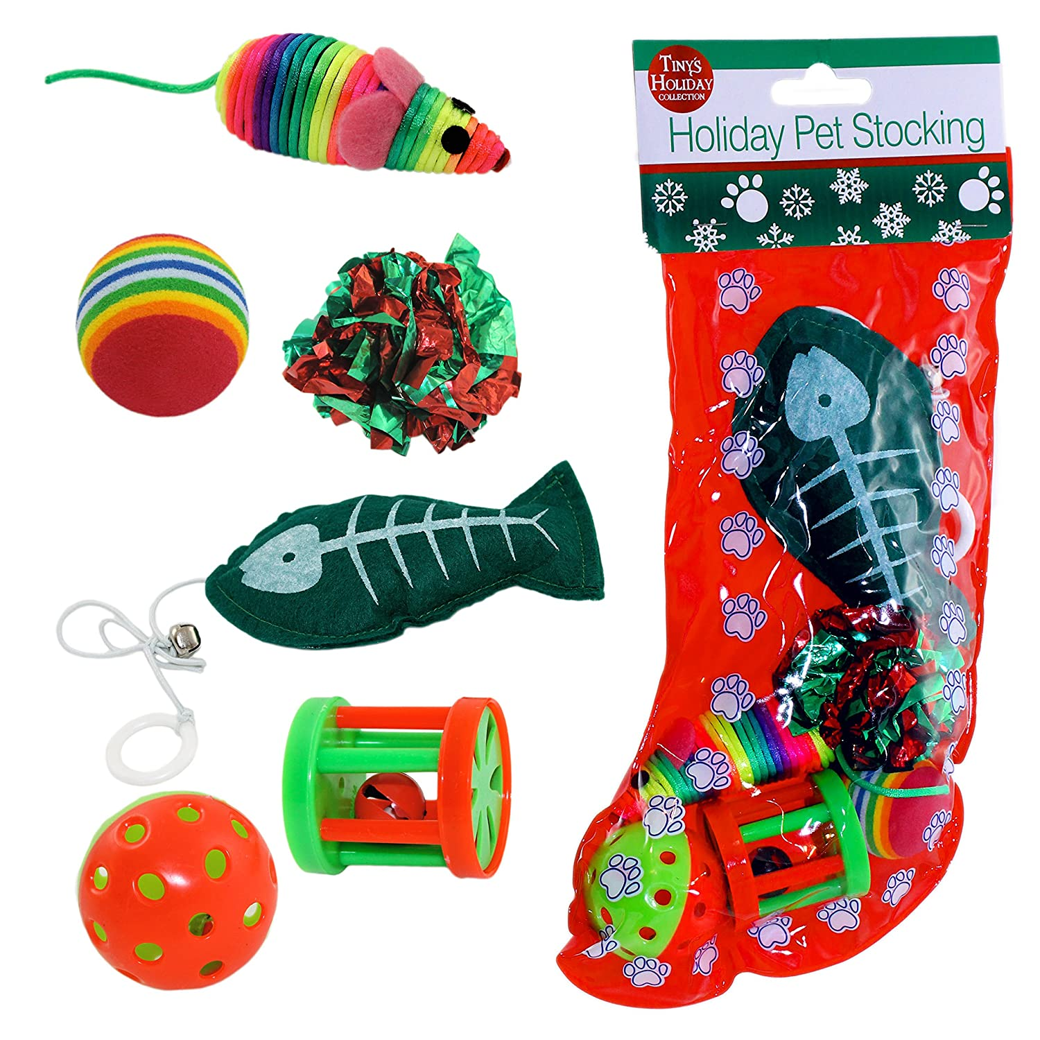 christmas cat stocking with toys
