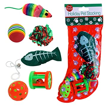 amazoncom christmas cat stocking 6 assorted toys pet supplies - Christmas Toys