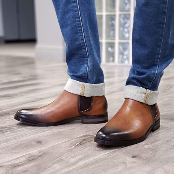Mens Hank Ankle High Pull On Distressed Round Toe Chelsea Dress Boots