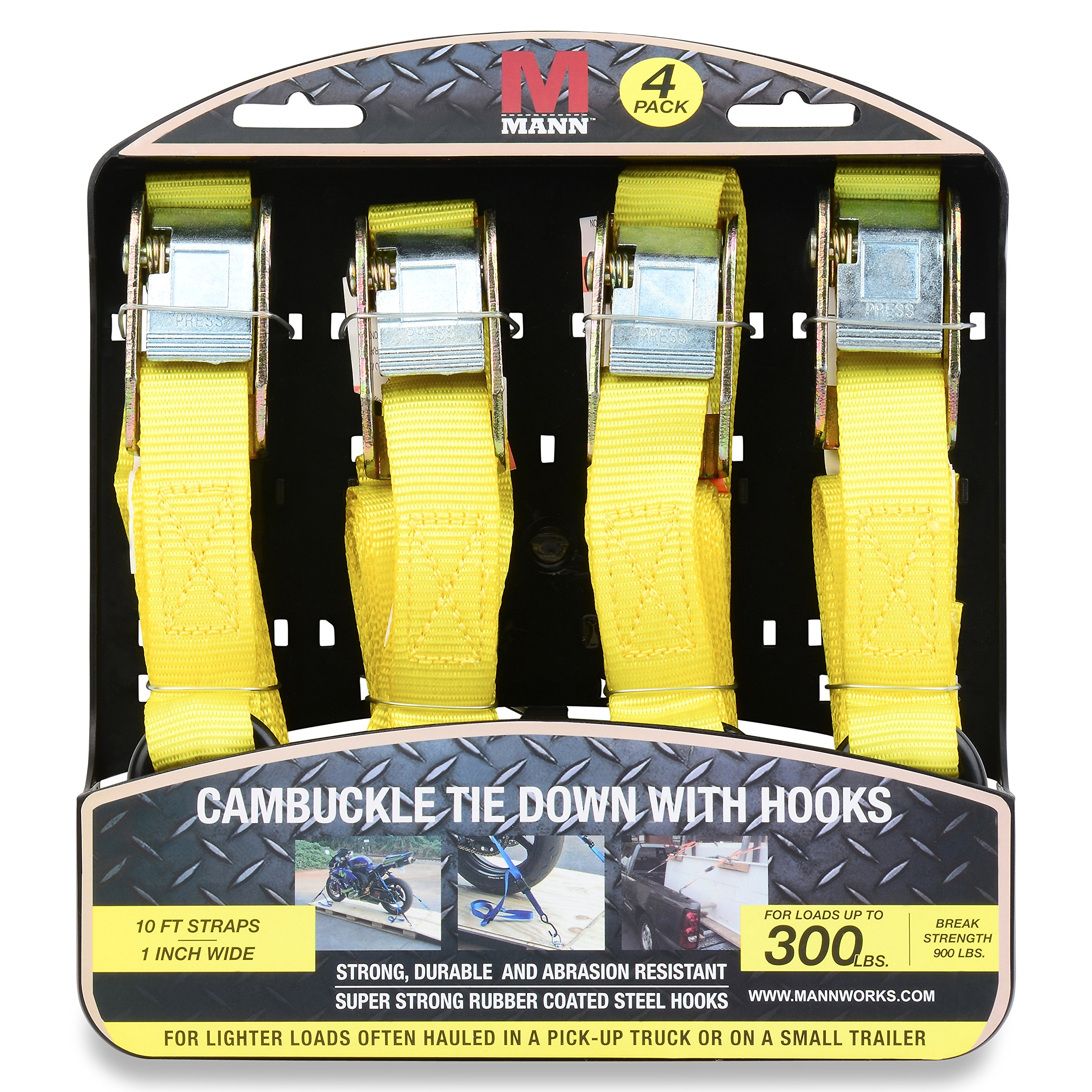 Mann Cambuckle Tie Down Straps with S-hooks 4-Pack Set 1''x10' 300lb Load Capacity 900lb Break Strength (Yellow)