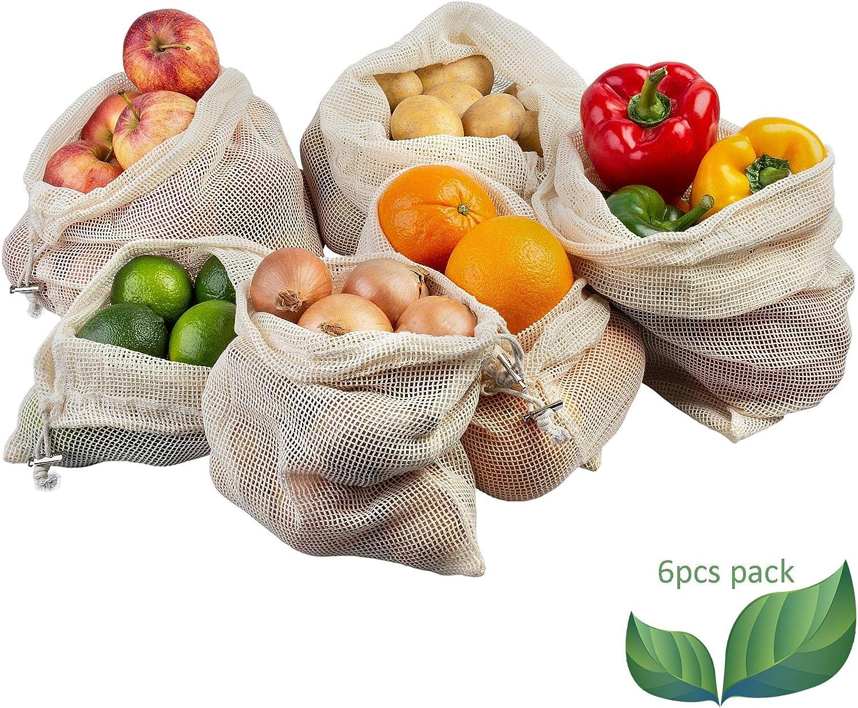 ECENCE Set de 6 Bolsas para Fruta y verdura Bolsas de Red de algodón ecológicas Reutilizables sin plástico Lavables estables 32040106