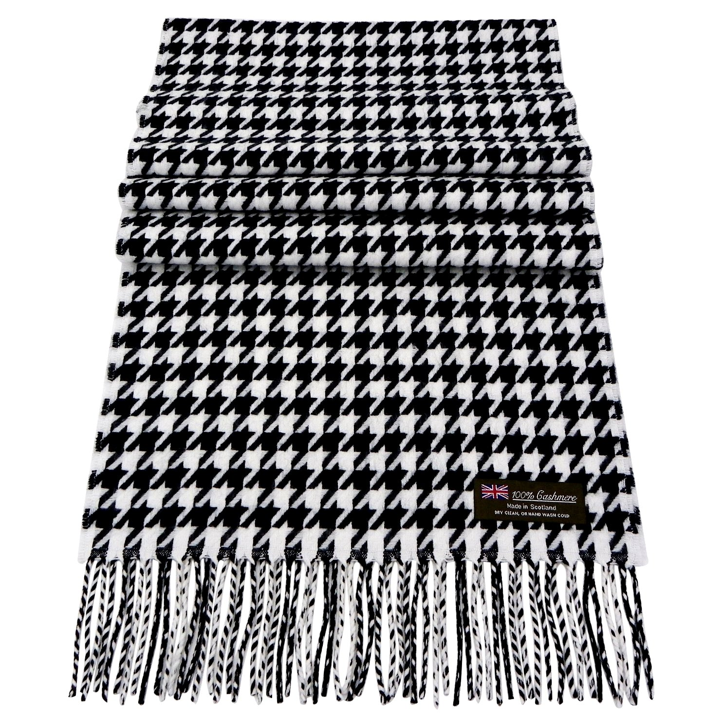 Rosemarie Collections 100% Cashmere Winter Scarf Made In Scotland (Black and White Houndstooth)
