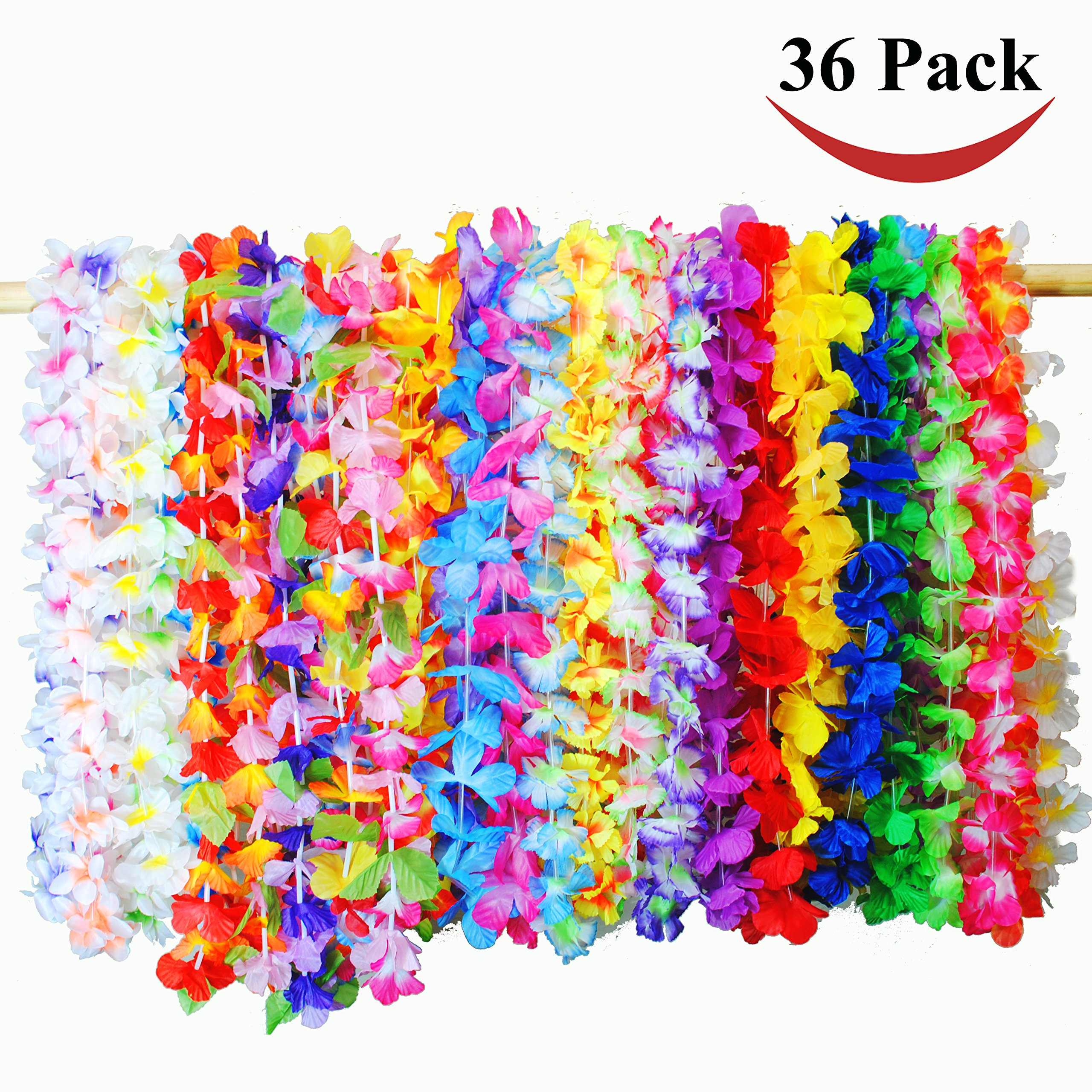Joyin Toy 36 Counts Tropical Hawaiian Luau Flower Lei Party Favors (3 Dozen) by Joyin Toy