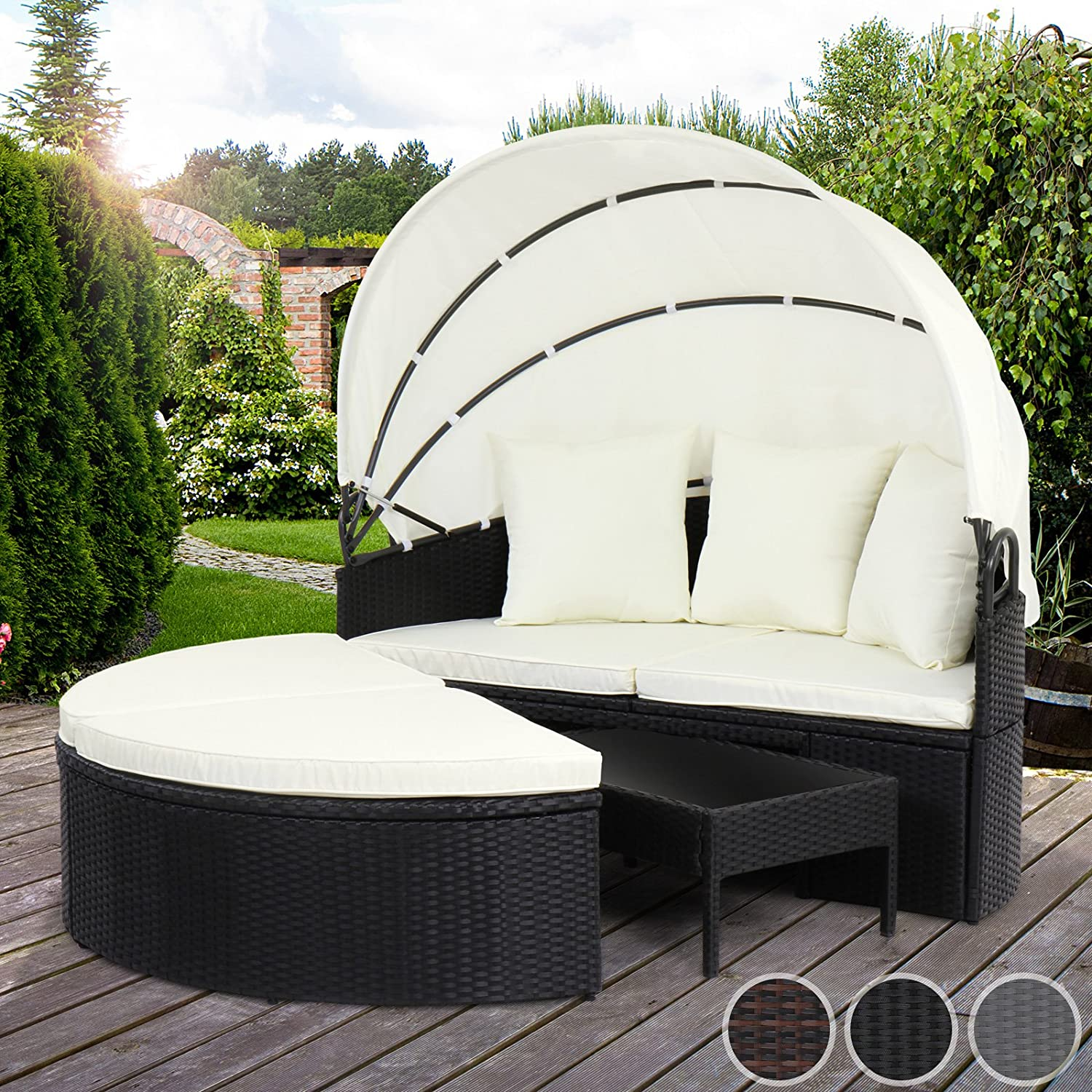 miadomodo polyrattan sonneninsel sonnenliege lounge. Black Bedroom Furniture Sets. Home Design Ideas