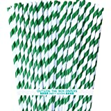 Striped Paper Straws - Green White - 7.75 Inches - Pack of 100