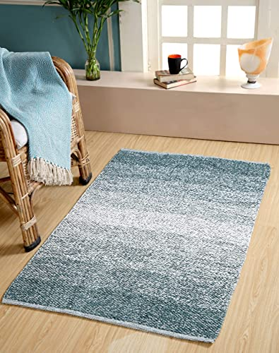 Kranvy Home Cotton Hand Woven Indoor Area Rug Mat Extra Soft and Absorbent Washing Separately Perfect Plush Carpet Mats fFor Living Room