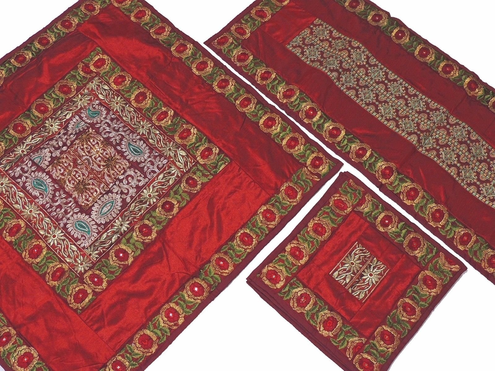 NovaHaat Burgundy Pretty Embroidered Tablecloth, Table Runner and 4 Placemats Set in Dupioni Art Silk from India ~ Tablecloth - 40 Inch, Runner - 60 Inch x 20 Inch, Placemats - 16 Inch