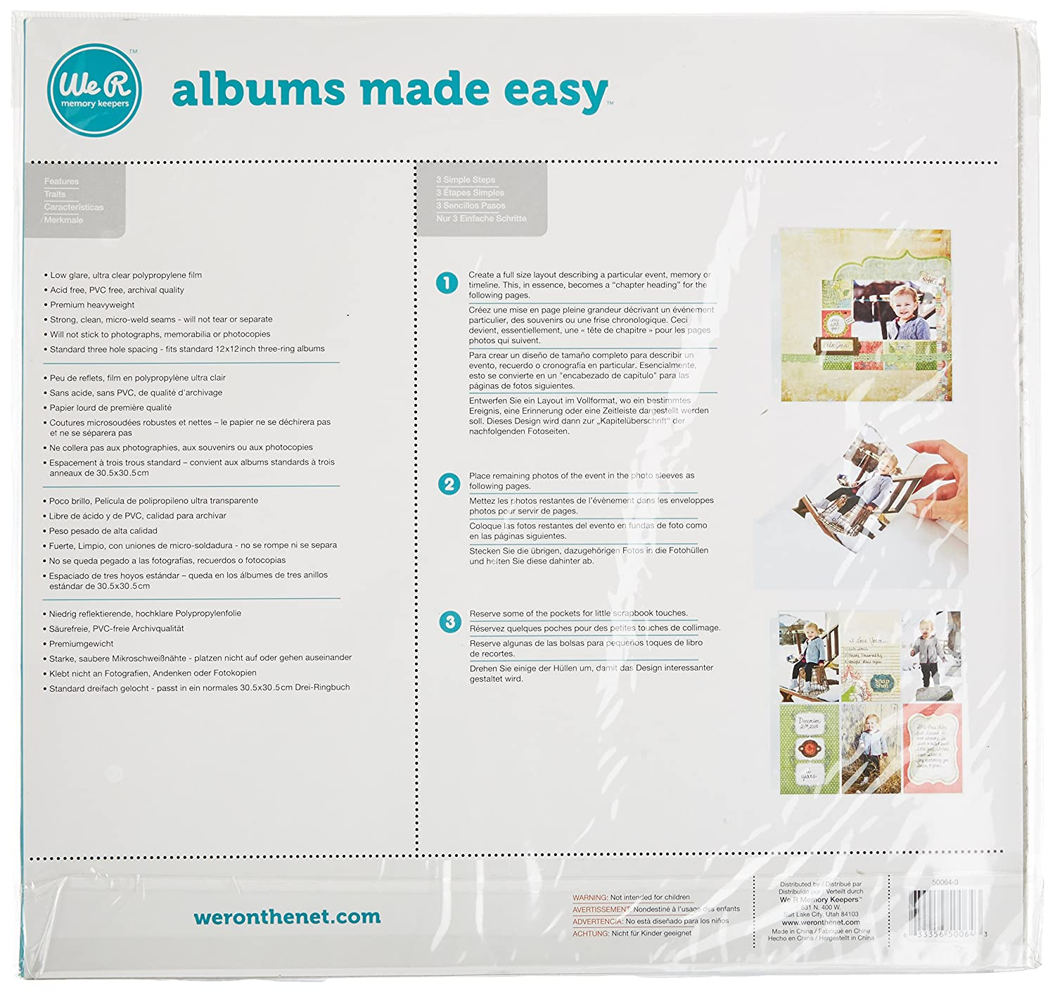Amazon.com: We R Memory Keepers 12 x 12 inch (4-4 x 6 Inch pockets) 3-Ring Album Photo Sleeve Protectors, 10 PK: Arts, Crafts & Sewing