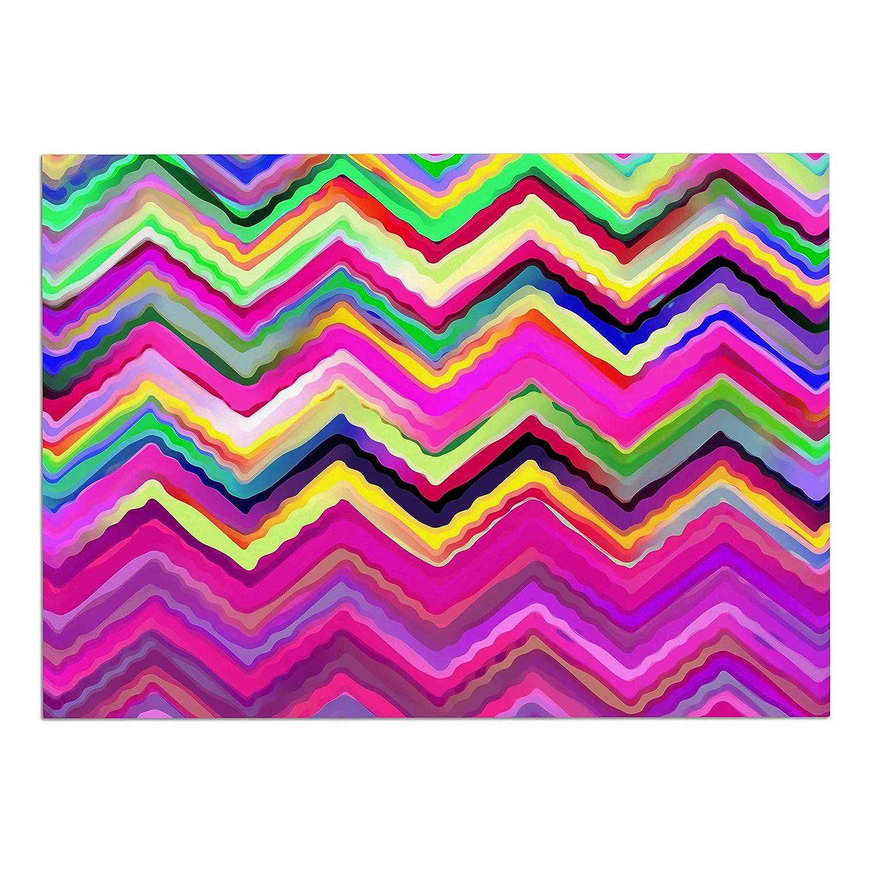 KESS InHouse Dawid Roc colorful Chevron  Purple Pink Dog Place Mat, 13  x 18