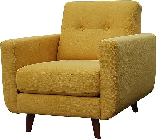 Amazon Brand Rivet Sloane Mid-Century Modern Armchair with Tapered Legs, 32.7 W, Yellow