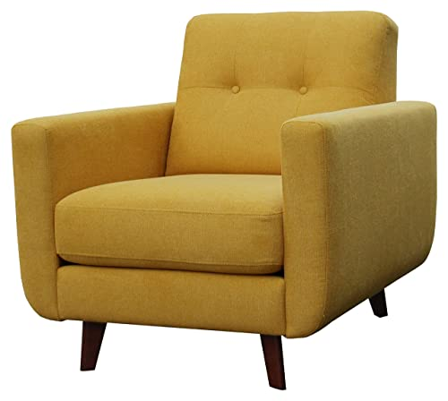 Rivet Sloane Mid-Century Modern Armchair with Tapered Legs, 32.7 W, Yellow