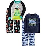 Simple Joys by Carter's - Conjunto de Pijama de 4 Piezas para niños pequeños, Coches y Espacios, 3T