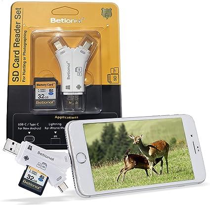 Betionol - Lector de tarjetas SD con tarjeta SD de 32 GB para ...