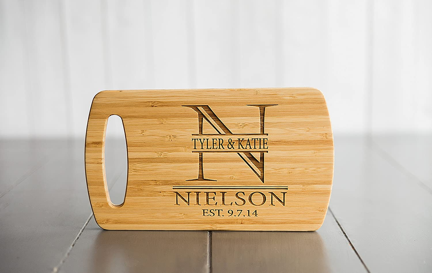 Qualtry - Personalized Mini Wood Cutting Boards - Perfect Gifts For Weddings, Bridal Showers, and Housewarmings - (5.5 x 9.5 Bamboo with Easy Carry Handle, Nielson Design)