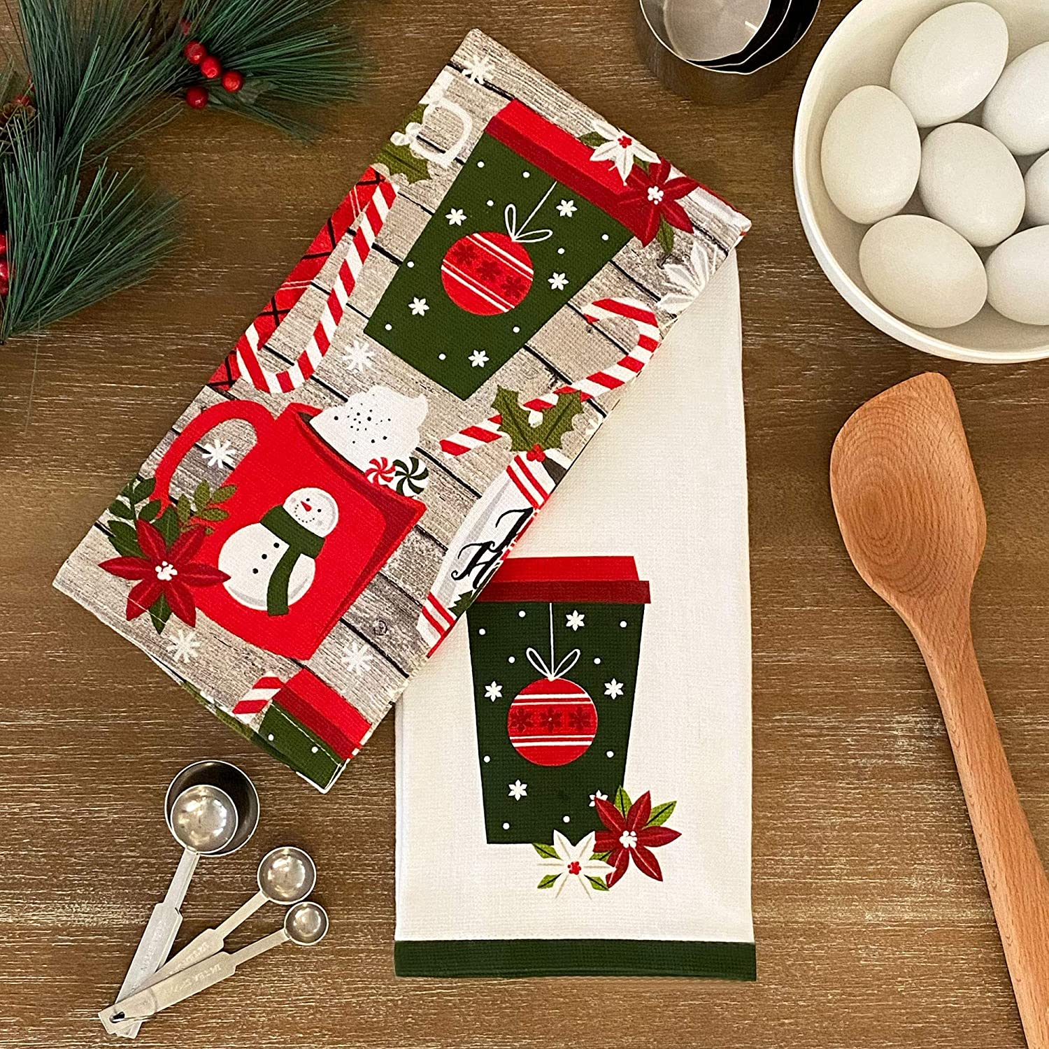 Embroidered Candy Cane Hand Towel Fingertip White Red Christmas Holiday Candy
