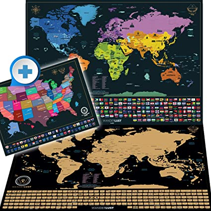 Amazon.com: Scratch Off World Map XL Edition + Premium Scratch Off ...